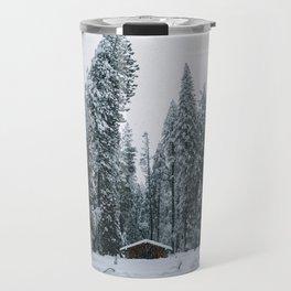 Cabin Snow Storm Travel Mug