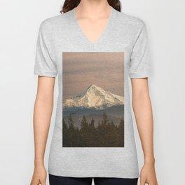 Mount Hood Vintage Sunset - Nature Landscape Photography Unisex V-Neck