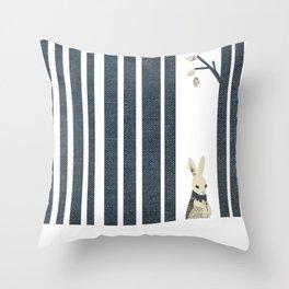 Winter Scene with Rabbit (Chasing the White Rabbit) Throw Pillow