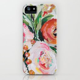 Boho pink and orange floral bouquet iPhone Case