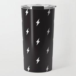 Lightning Bolt Pattern Black & White Travel Mug
