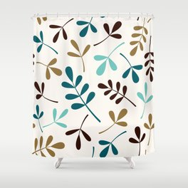 Assorted Leaf Silhouettes Teals Brown Gold Cream Shower Curtain