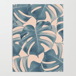 Tropical Monstera Leaves Dream #5 #tropical #decor #art #society6 Poster