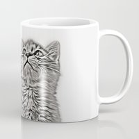 kitten Mugs featuring Kitten by Vicky Lewis