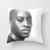 house md Throw Pillows featuring Dr. Foreman-House MD-Omar Epps-Portrait by Olechka
