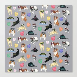 Valentine's Day Candy Hearts Puppy Love - Grey Canvas Print