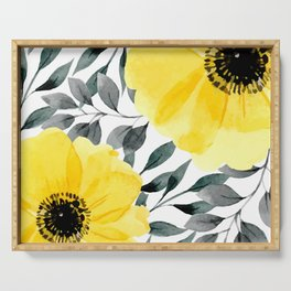 Big yellow watercolor flowers Serving Tray