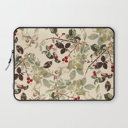 Vintage ivory red green forest berries floral Laptop Sleeve