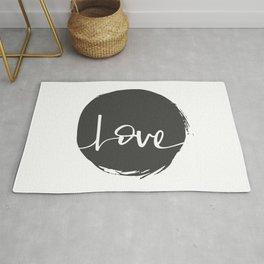 Love Handwritten Black and White Rug