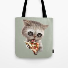CAT LOVES PIZZA Tote Bag