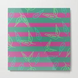 Leafy: Leaf+Stripe Metal Print