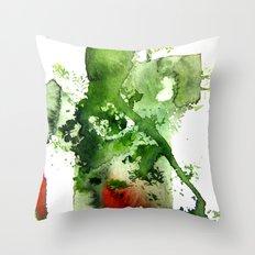 Watercolor Green Throw Pillow