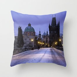 Winter and Snow at the Charles Bridge, Prague Throw Pillow