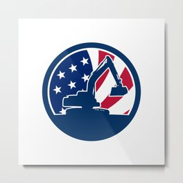American Excavator USA Flag Icon Metal Print