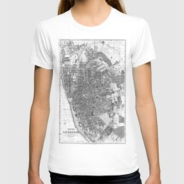 Vintage Map of Liverpool England (1890) BW T-shirt