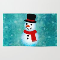 snowman Area & Throw Rugs featuring snowman by vitamin