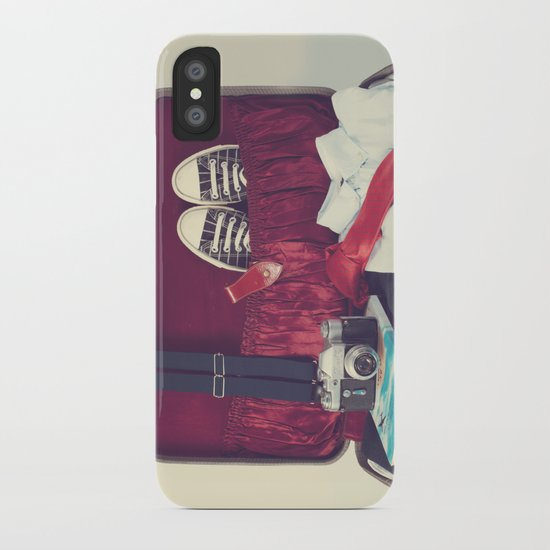 Vintage Journey Suitcase (His) (Retro and Vintage Still Life Photography) iPhone Case