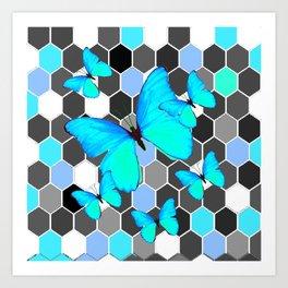 NEON BLUE BUTTERFLIES ON MODERN ABSTRACT ART Art Print