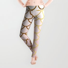 Pink Gradient And Gold Foil MermaidScales - Mermaid Scales Leggings