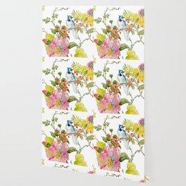 Bluejay Bird Day Floral Wallpaper