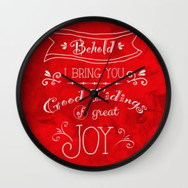 Tidings of Great Joy (red) by Jan Marvin Wall Clock