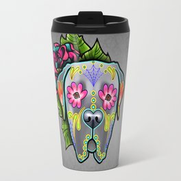 Mastiff in Grey - Day of the Dead Sugar Skull Dog Travel Mug