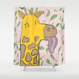 Giraffe with Tongue Out Shower Curtain