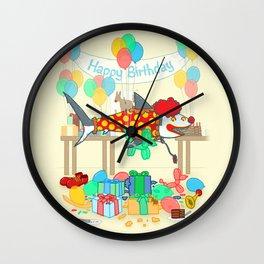 The Birthday Party Clown Shark Wall Clock