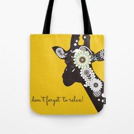 Funky Cool Funny Giraffe Yellow Tote Bag