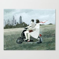 Couple On Scooter Canvas Print