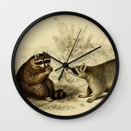 Naturalist Raccoons Wall Clock