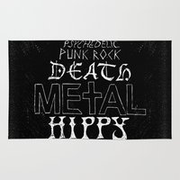 hippy Area & Throw Rugs featuring Death Metal Hippy by Tommy Stewart