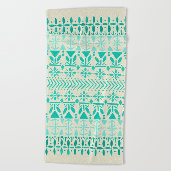 Norwegian Pattern – Aqua on White Beach Towel