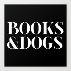 Books&Dogs - Black and White (inverted) Canvas Print