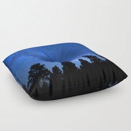 Milky Way (Black Trees Blue Space) Floor Pillow