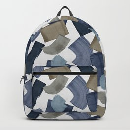 Blue & Brown Paint Blocks, Abstract Wall Art Backpack