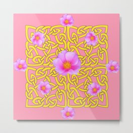 Decorative Yellow Celtic Pattern Pink-Coral  Rose Art Metal Print