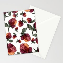 Prairie Rose Flower in Red and Orange Stationery Cards