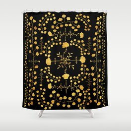 gold native floral Shower Curtain