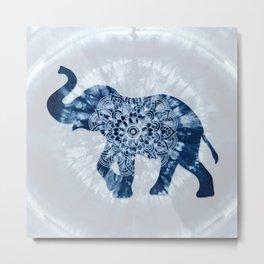 Elephant Mandala Indigo Blue Tie Dye Metal Print