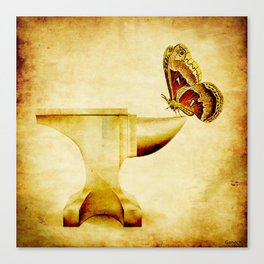 The anvil and the butterfly Canvas Print