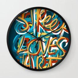 Street Loves Art Graffiti Urban Art Writing Blue and Yellow Wall Clock