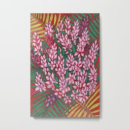 Pink Cone Ginger, Alpinia purpurata, Ostrich Plume Tropical Flowers Metal Print