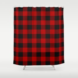 Red and black squares plaid print Shower Curtain