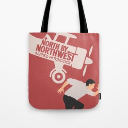 North by northwest, Alfred Hitchcock minimalist movie poster, thriller, Cary Grant, Eva Marie Saint Tote Bag