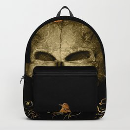 Golden skull with crow Backpack