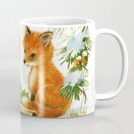 Cute Vintage Christmas Foxes Coffee Mug
