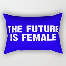 The Future Is Female - Blue and White Rectangular Pillow