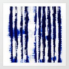 Tie-Dye Shibori Stripe Blue Art Print