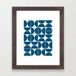 Mid Century Modern Geometric 04 Blue Framed Art Print